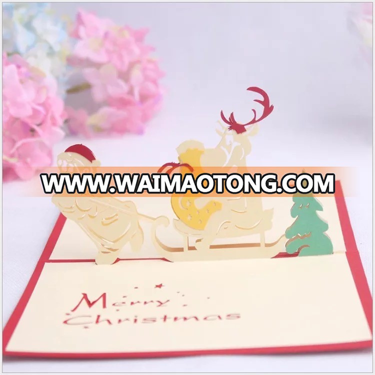 Ywbeyond 3D santa greeting paper card 3D christmas thank you card happy new year paper craft, event party supplies