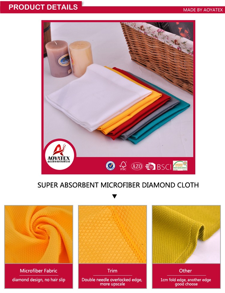 Best selling custom cheap plain microfiber cleaning cloth for kitchen Wholesale made in china