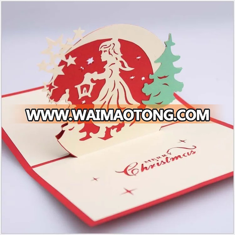 Ywbeyond 3D christmas pop up greeting paper card paper craft happy new year 3D thank you card supplies