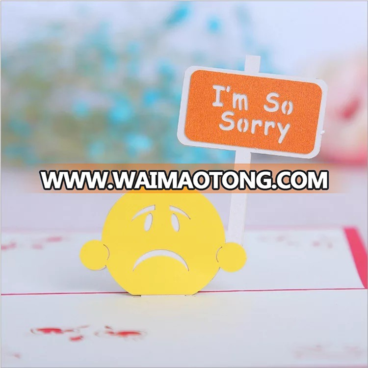 "Ywbeyond 3D paper card of ""i'm sorry"" yellow crying face 3D paper craft"